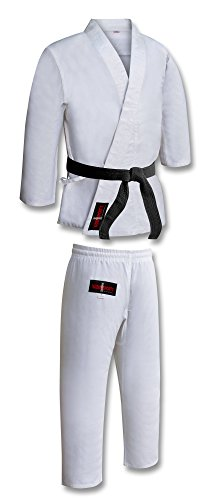 Traje de Karate para Adulto, Color Blanco, Uniforme, poliéster/algodón, Incluye cinturón M/W, Preencogido, Kimono Blanco de Karate, Kata de Karate Blanco, Traje de Karate (3/160 cm pequeño)