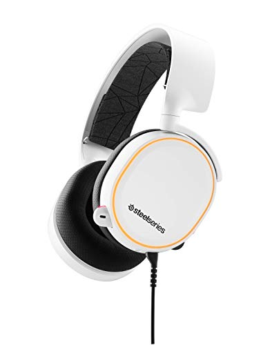 SteelSeries Arctis 5 - RGB Illuminated Gaming Headset with DTS Headphone: X v2.0 Surround - for PC and PS5/PS4 - White