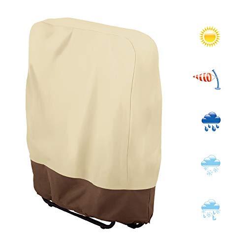 Housse chaise longue pliante extérieur imperméable, couverture de transat pliable anti-poussière, bâche bain de soleil protection meuble jardin tissu oxford avec couleur beige et café 93x82 cm (Beige)