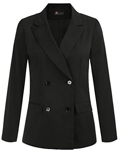KANCY KOLE Women Blazer in Black Open Front Cardigan Jacket Work Office Blazers for Church (Black, L)