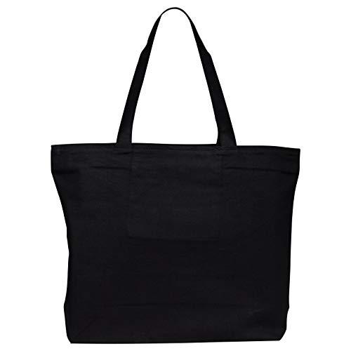 TBF Bags - Bolsa grande de lona con cierre de cremallera para la playa, compras, viajes