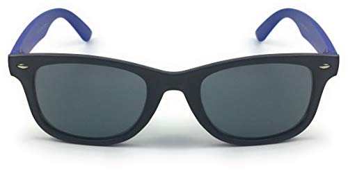 mygoodtime Sonnenbrille Kinder Brille Nerdbrille eckig Kunststoff verspiegelt UV 400 (Blau Schwarz)