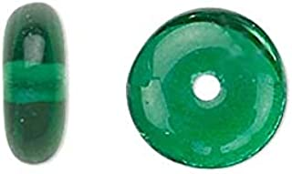 50 Flat Round Czech Glass Rondelle Spacer Disc Beads for Jewelry (Emerald Green)