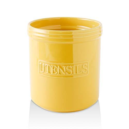 KOOV Cooking Utensil Holder, Large Ceramic Utensil Crock, Deep and Stable, Utensil Caddy for Countertop Letter Series (Yellow)