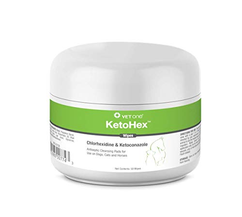 VetOne: KetoHex Antifungal & Antibacterial Veterinary Formulated Wipes for Dogs, Cats, & Horses, 50-Count Jar