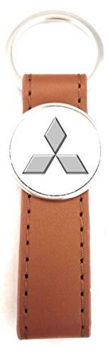 Schlüsselanhänger Stahl / Kunstleder Classic Braun Circle Mitsubishi