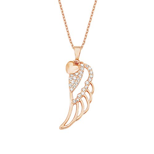 amor Kette mit Anhänger für Damen 42+3 cm mit Anhänger Flügel Herz 925 Silber rosévergoldet Zirkonia weiß