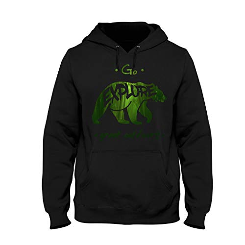 Wild Soul Tees, Hoodie, Go Explorer Great Outdoors | Grizzly Vert | Design | Logo | Vêtements | Ligne de vêtements - Noir - Medium