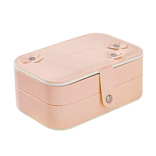 deendeng Joyero portátil de viaje de 2 capas con espejo de maquillaje – Pendientes de cremallera portátil anillo collar expositor estuche de viaje
