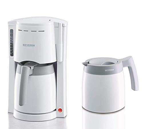 SEVERIN Kaffeemaschine, Für gemahlenen Filterkaffee, 8 Tassen, Inkl. 2 Thermokannen, KA 9233, Weiß