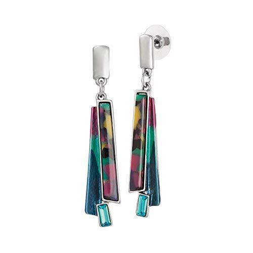 Eternal Collection Zelda Animal Print Enamel Silver Tone Drop Pierced Earrings Multi 5.8