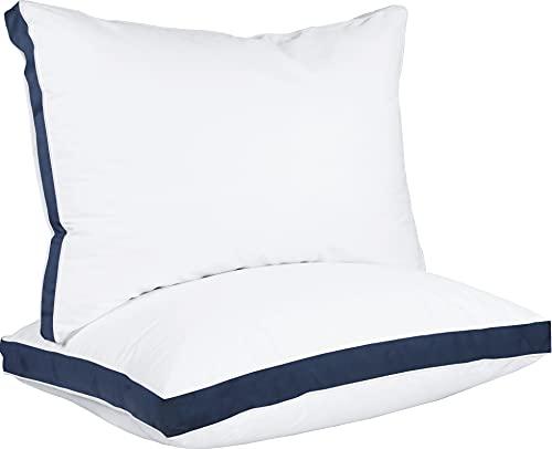 Utopia Bedding Almohadas (2 Unidades) - 45 x 66 cm Mezcla de algodón con Relleno de poliéster 3D - Transpirable y Suave (Azul Marino)