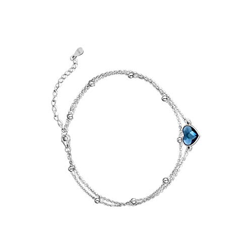 Pulsera de tobillo con forma de corazón para mujer, de plata de ley 925, ajustable, para aniversario, cumpleaños