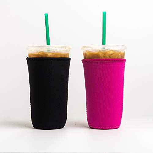 Reusable Insulated Neoprene Iced Coffee Beverage Sleeve | Cold Drink Cup Holder for Starbucks Coffee, McDonalds, Dunkin Donuts, Tim Hortons and More | (Black & Pink 1, 2 PK Large 32oz)