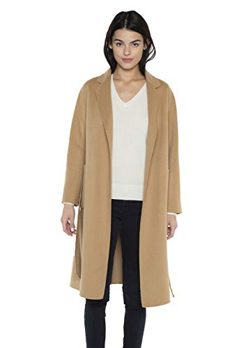 Jennie Liu - Cappotto da donna in cashmere, doppio viso, con cintura Cammello M