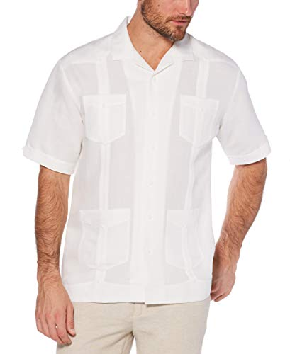 Cubavera Men's Short Sleeve Traditional Guayabera Shirt, Bright White, X-Large