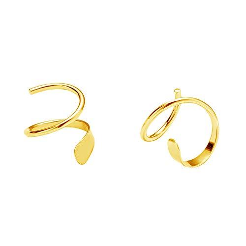 Minimalist Ear Climber Crawler Cuff Earrings for Women Girls Sterling Silver Cartilage Ear Piercing Wrap Earring Studs Hypoallergenic (Yellow Gold)
