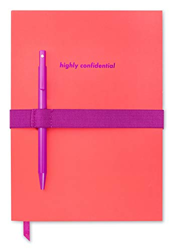 Kate Spade New York Lined Notebook with Black Ink Pen, 8.5' x 6' Ruled Writing Journal with 172 Pages, Highly Confidential