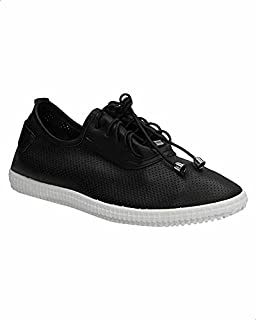 Dejavu Perforated Faux-Leather Lace-up Sneakers for Women