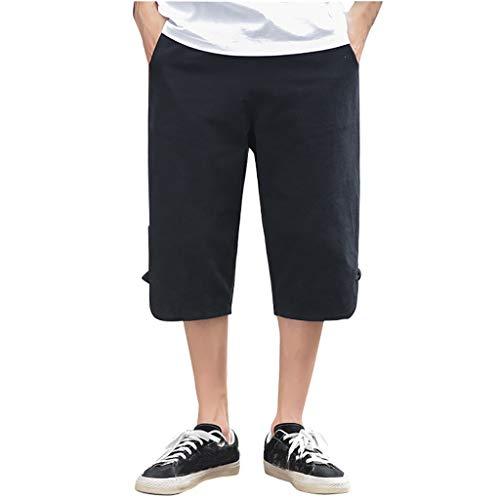 Preisvergleich Produktbild SSUPLYMY Pants Leinen Baumwolle Shorts Männer Herren Sommer Solid Beach Casual Elastische Taille Klassische Passform Hosen Kurze Hosen Lässige Baumwolle und Leinen Retro-Kurze Hose