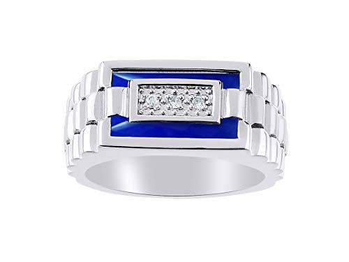 Juego de anillos de cuarzo y ónice azul para hombre en oro blanco de 14 quilates. La piedra es especial para este anillo. Estilo de diseñador