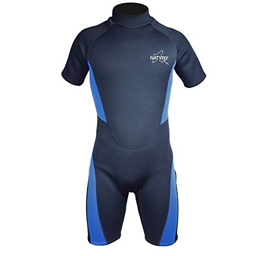 NATYFLY Wetsuit Men 3mm Neoprene Shorty Surfing Wetsuits for Women (Blue/Shorty Wetsuit, XL)