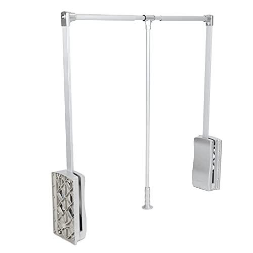 Appendiabito saliscendi per armadio, Barra appendiabiti saliscendi, Asta appendiabiti per tirare giù con ritorno morbido, Largo Regolabile, per armadi e ripostigli, Portante 10 kg(89-121cm)