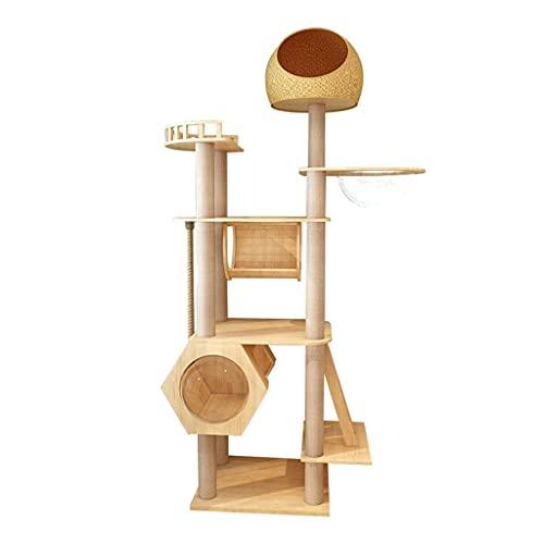 Shelf Árbol para Gatos, Torre Moderna para Gatos, Muebles de Madera para condominios para Gatos con Hamaca más Grande, Postes rascadores, establo para Gatitos/Gatos de Concierto