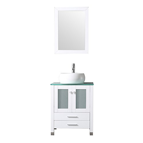 "BATHJOY 24"" Bathroom Wood Vanity Set Cabinet Round Ceramic Vessel Sink Top Faucet Combo with Mirror"
