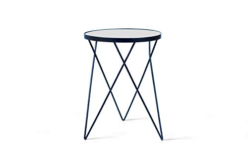 LIFA LIVING runder Beistelltisch aus schwarzem Metall, Moderner Couchtisch mit Glasplatte, Deko Tisch im Vintage Stil, bis zu 20 kg Belastbarkeit