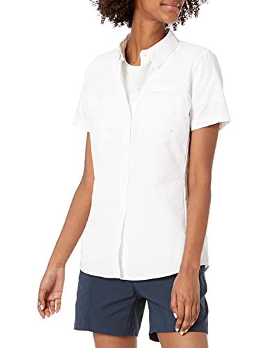 Amazon Essentials Women's Short-Sleeve Classic Fit Outdoor Shirt with Chest Pockets, Bright White, X-Large