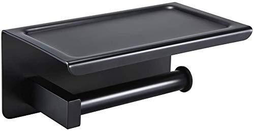 YISSVIC Portarrollos para Papel Higiénico Portarrollos Baño Adhesivo Acero inoxidable 304 con el Teléfono Móvil Estante de Almacenamiento Negro