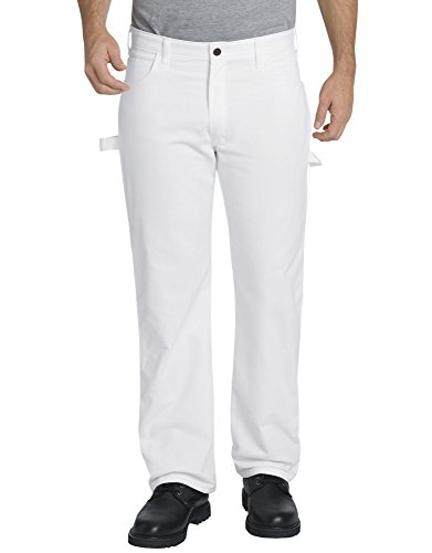 Dickies Men's Relaxed Straight Flex Painter's Pant, White, 32W x 30L