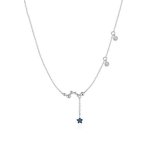 HAKLAKY Collar de Mujer Personalizado 925 Collar de Plata de Ley del corazón/Estrella/Dot Combinan en circonio cúbico Colgante, Collar for Las Mujeres Joyas de Mujer