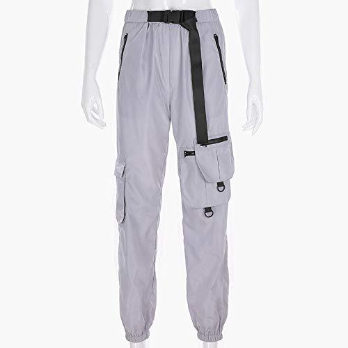 haochenli188 Hip Pop Streetwear Big Pockets Cargohose Frauen Harajuku Loose Hearm Pants Balken Fuß Jogger GüRtel Schnalle Weibliche Hose M Grau