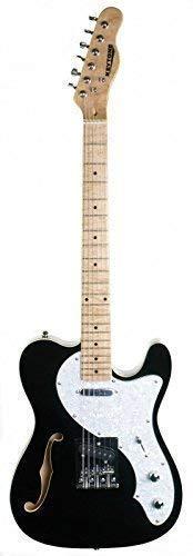 KEYTONE E-Gitarre TL-Style Deluxe mit F-Loch Schwarz Black F-Hole