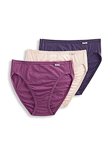 Jockey Women's Underwear Plus Size Elance French Cut - 3 Pack, Oatmeal/Boysenberry/Perfect Purple, 10