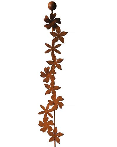 Bornhöft Gartenstecker Blüten Rankstab mit Kugel 118cm Metall Rost Gartendeko Edelrost rostige Deko