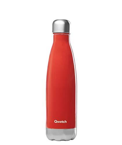 QWETCH - Bouteille Isotherme INOX 750 ML - Maintient Vos Boissons au Chaud Pendant 12 Heures & au Frais Pendant 24 Heures – BPA Free - Rouge Brillant
