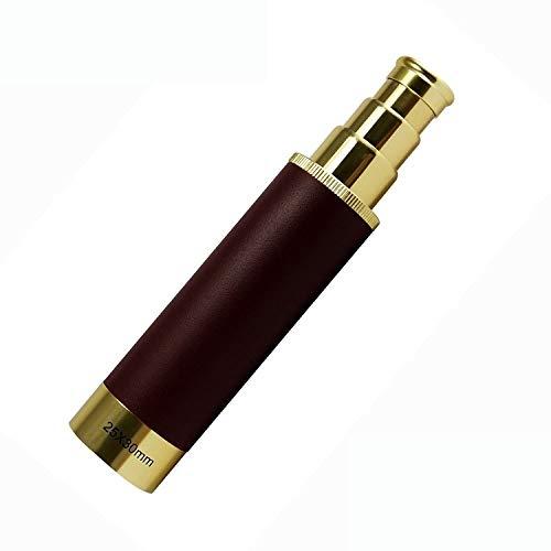 Aiong 25x30 Monokulares zusammenklappbares Messing-Teleskop, einstellbares Push-Pull-Handheld-Taschenfernrohr mit Tragetasche für Pfadfinder