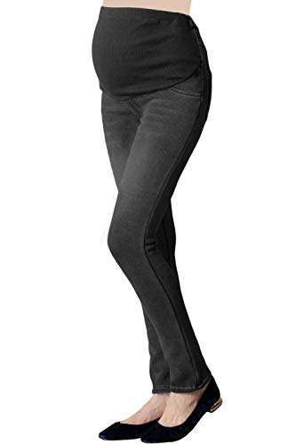 Sweet Mommy Maternity Fleece-Lined Denim Skinny Jeans Black, L