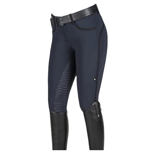 Pantalon d'équitation Volgrip pour femme - Pantalon d'équitation avec poche pour téléphone portable - Pantalon élastique pour femme, Marine, M