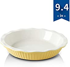 KOOV Ceramic Pie Dish, 9 Inches Pie Pan, Pie Plate for Dessert Kitchen, Round Baking Dish for Dinner (Leaves Yellow)