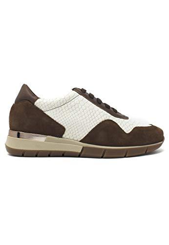 zapattu Patricia Miller - Sneaker combinada taupe con textura serpiente