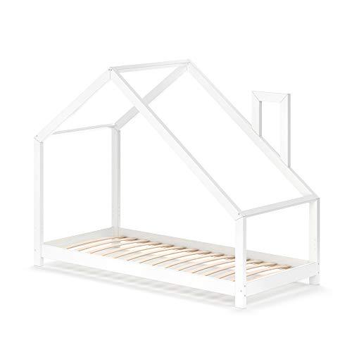 VitaliSpa Funktionsbett Kinderbett Nicole 90x200 Bett Holz Haus Spielbett Hausbett weiß