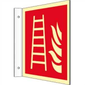 Vaandelbord Brandladder volgens ISO 7010 HIGHLIGHT PVC 20 x 20 cm met 2 boringen à 3 mm Ø Lichtdichtheid: HIGHLIGHT 48 mcd/m2 volgens ISO 7010, F003
