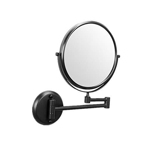 Zjcpow-HO Espejo de maquillaje LED espejo de maquillaje con 3 espejos de aumento, espejos cosméticos con rotación de 360 ° base de ventosa (tamaño 8 pulgadas) (color: negro, tamaño: 8 pulgadas)