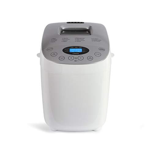 Livoo DOP205W Máquina de pan hecha en casa | doble amasa, 15 programas sin gluten, completo, tradtion, etc. | Gran capacidad, inicio diferido, mantiene caliente