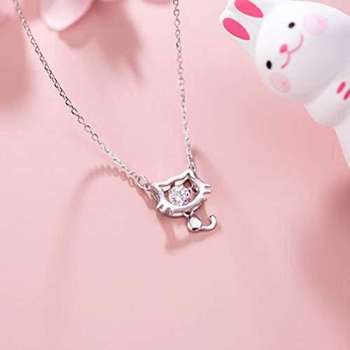 WOZUIMEI S925 Collar de Plata Femenina Moda Coreana Hueco Diamante Gato Estilo Literario Colgante Cadena de Clavículaplata