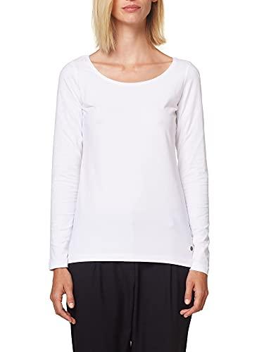 ESPRIT Damen 998Ee1K812 Langarmshirt, Weiß (WHITE 100), Large (Herstellergröße:L)